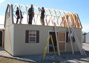 Pine Creek Structures 2-story gambrel barn deliver and set up