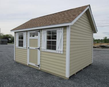 10x14 Side Entry Peak Shed with Shelves